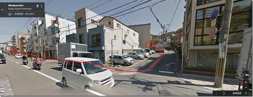 紅圈處是鹿麓,出來到大馬路,往左邊的箭頭方向前進