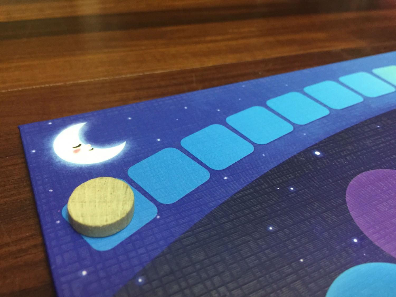 太陽指示物從月亮圖案開始往太陽的方向移動